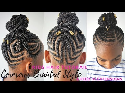 KIDS BRAIDED HAIRSTYLES TUTORIAL | Feed In Cornrows Ponytail