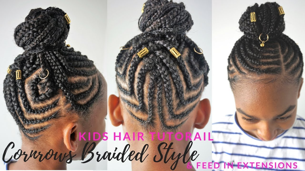 KIDS BRAIDED HAIRSTYLES TUTORIAL | Feed In Cornrows Ponytail - YouTube