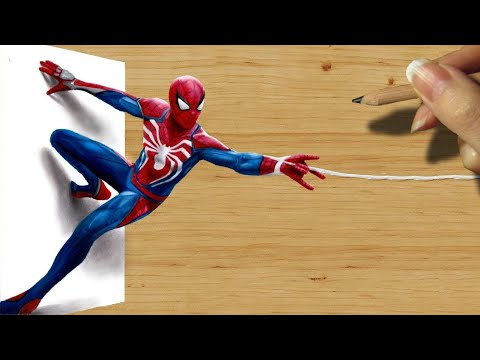 3D Pencil Drawing: Spider-Man in PlayStation 4 Video Game PS4 - Speed Draw | Jasmina Susak