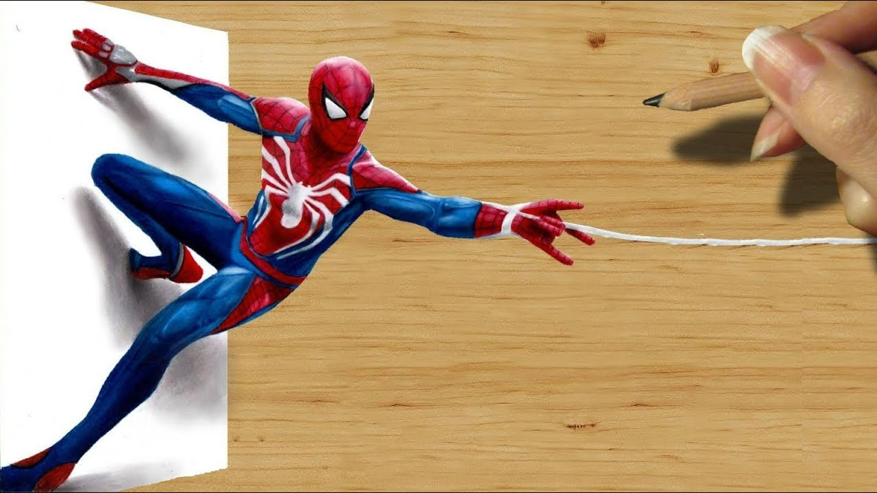 3D Pencil Drawing: Spider Man in PlayStation 4 Video Game
