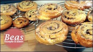 Nuss-Rosinenschnecken Rezept | Rollkuchen Teilchen backen wie vom Bäcker