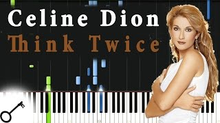 Celine Dion - Think Twice [Piano Tutorial] Synthesia | passkeypiano