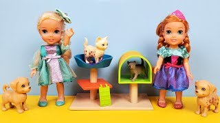 Animal shelter ! Elsa and Anna toddlers adopting a pet ? Barbie and Stacie work there
