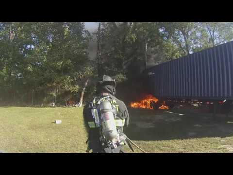 Tractor trailer fire Emporia, Virginia GCFD