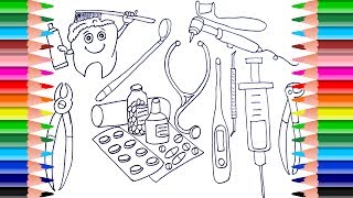 How to Draw Set for Dentist | Coloring Pages: Syringe, Thermometer and Medications | Art Colours