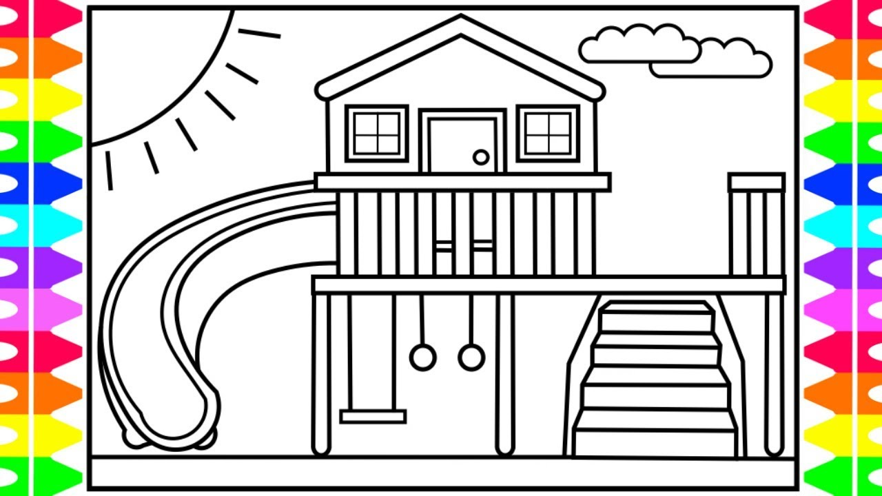 How to Draw a Playhouse for Kids 💚💙💜Kids Playhouse Drawing | Kids  Playhouse Coloring Pages