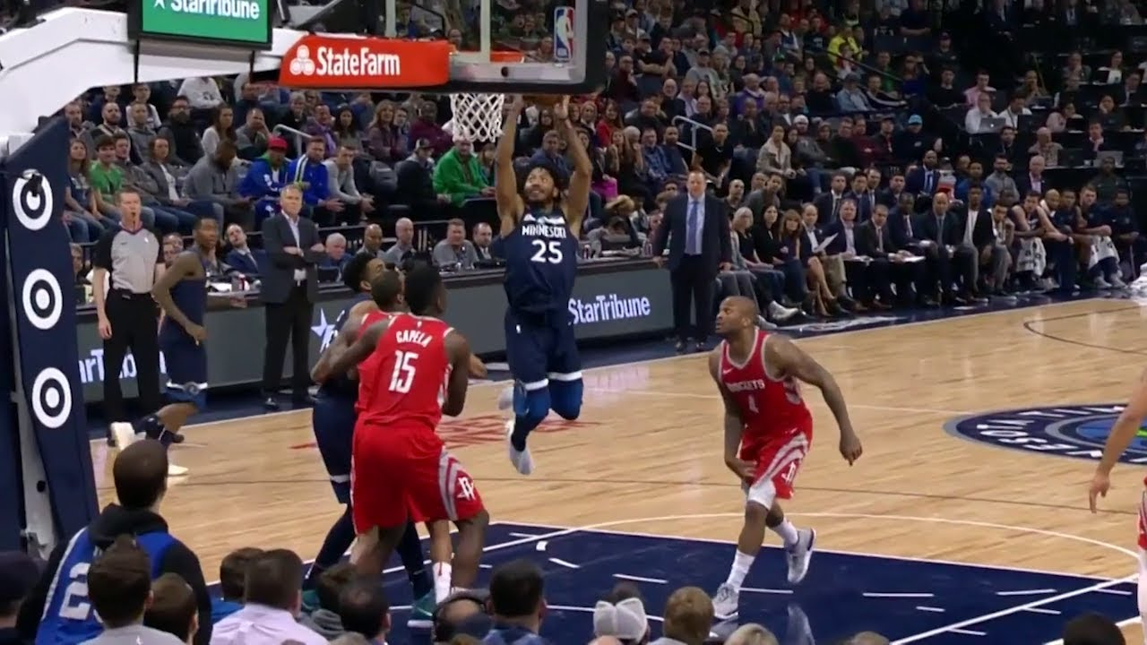 Derrick Rose Throws Down The Dunk Rockets Vs Timberwolves