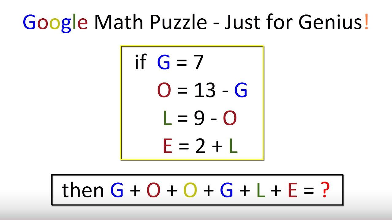 Google Math Puzzle - Just for Genius - YouTube
