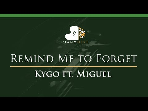 Kygo - Remind Me To Forget Ft. Miguel - LOWER Key (Piano Karaoke / Sing Along)