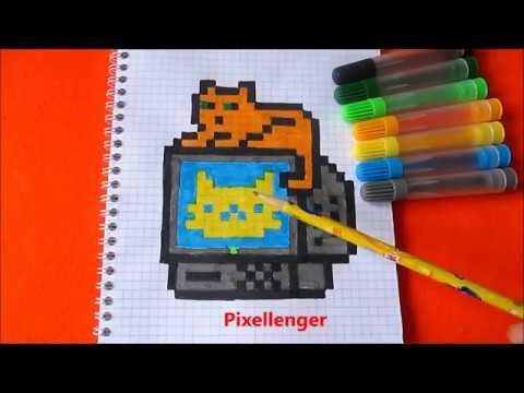 Кот на Компьютере  3К Как нарисовать Кота по клеточкам в тетради Котика на Компе 3К