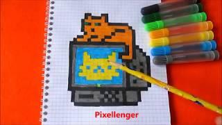 Кот на Компьютере  3К Как нарисовать по клеточкам в тетради Котика на Компе 3К