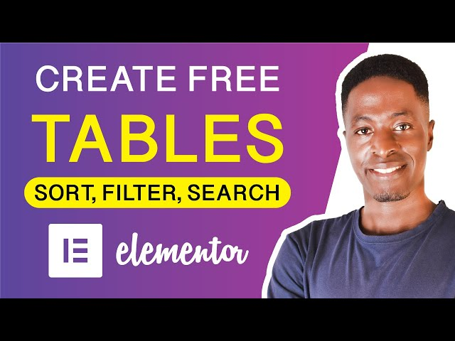 ELEMENTOR TABLES TUTORIAL: Create Free Data Tables in Elementor with search and filters