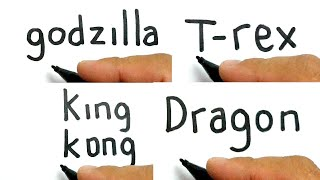 compilation BIG MONSTER  , how to turn words GODZILLA , T-REX , KING KONG , DRAGON into cartoon
