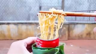 Luộc trứng, nấu mì bằng vỏ lon nước ngọt (boil eggs & cook noodle with coke can)