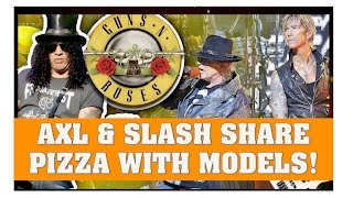 guns n roses news axl slash eat pizza with models tom delonge isn t a big fan