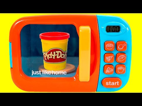 Just Like Home Microwave Oven Toy Play Doh Kitchen Cutting Food Cooking Playset Videos