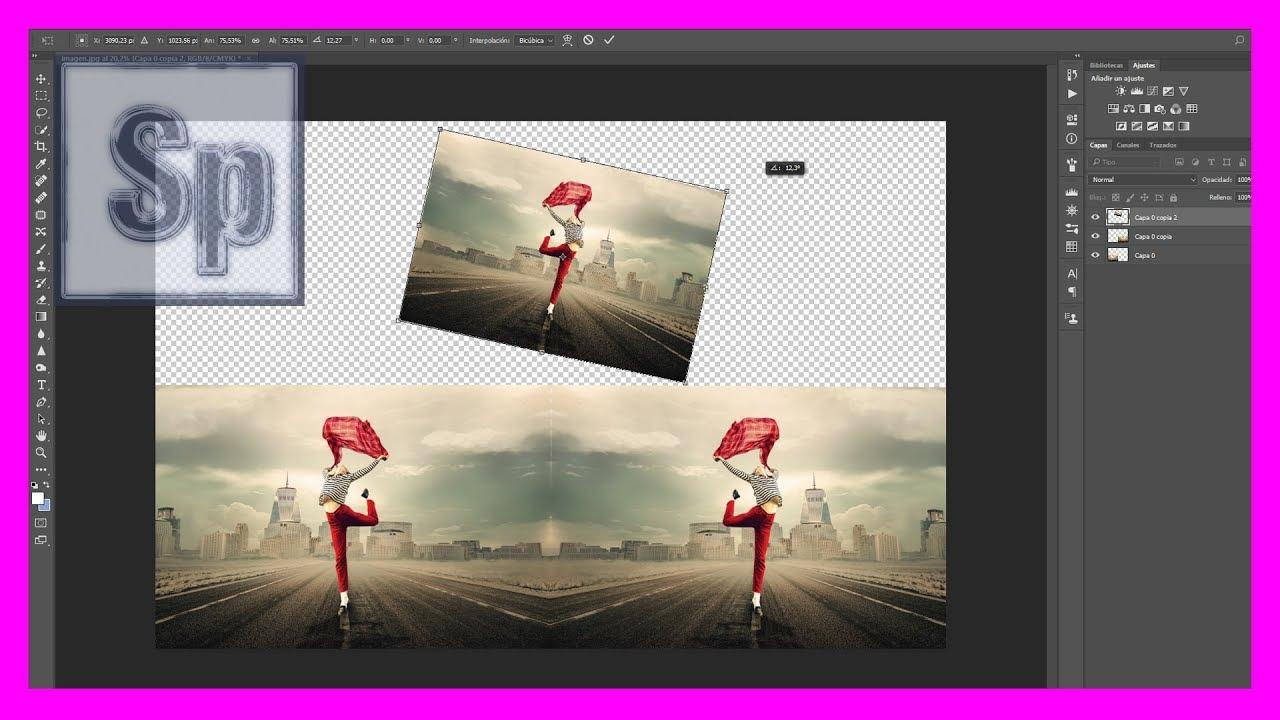 Photoshop - Cómo invertir/voltear y girar una imagen en