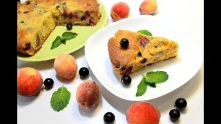 Заливной пирог с персиками и ягодами . Супер вкусный пирог