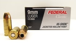 Federal 9mm 115 Grain HI-SHOK JHP 9BP Clothing and Clear Gel Tests
