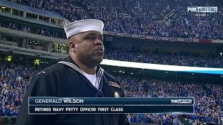 WS2014 Gm1: Generald Wilson sings during the stretch