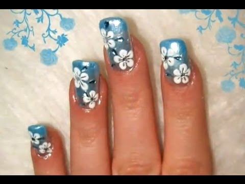 Winter Flowers Nail Design Youtube