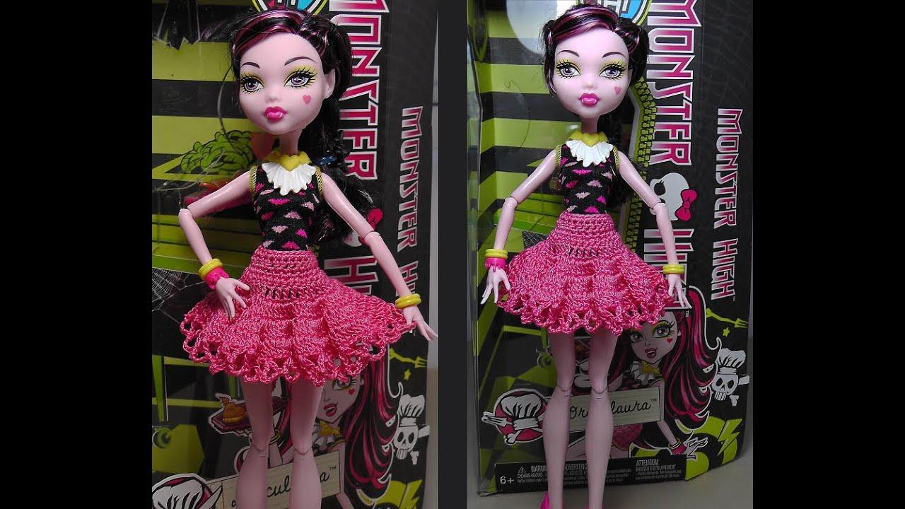 Пышная юбка на куклу крючком