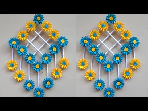 paper-flower-wall-hanging---easy-wall-decoration-ideas---paper-craft---diy-wall-decor
