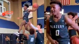 Bronny James and Zaire Wade Practicing Their Dunks With The Help Of 7-foot-2 Center Harold Yu