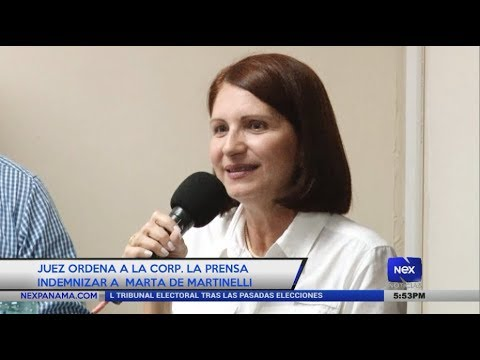 Juez ordena a la Corp La Prensa indemnizar a Marta de Martinelli