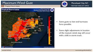 NWS Morehead City Isaias Video Update #6 (Short Version)