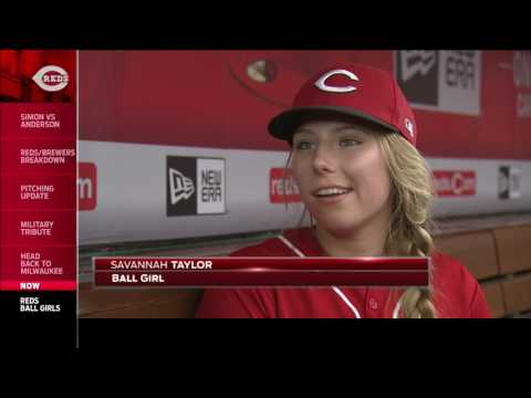 Reds first: Ball girls manning the lines at Great American Ball Park