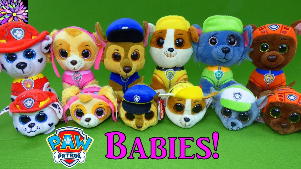 Paw Patrol Baby Pups Play Hide and Seek Game Skye Chase Marshall Rocky  Rubble TY Teeny Plush Toys be00d1b4972