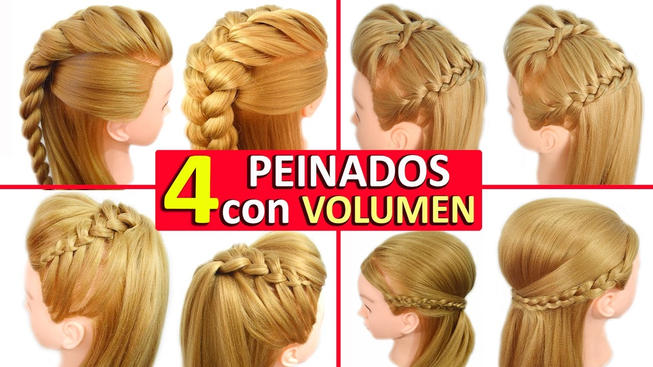 peinados faciles y rapidos con trenzas con volumen tupe para cabello largo