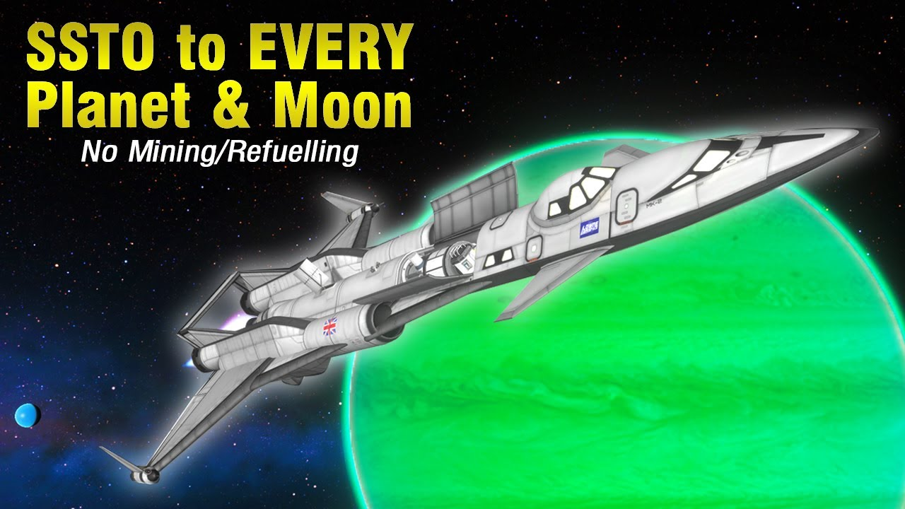 Flying an SSTO to EVERY Planet and Moon - No Mining or Refuelling! - KSP