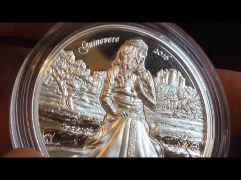 Legends Of Camelot Guinevere 2 oz Ultra High Relief Proof Silver Coin Unpackaging