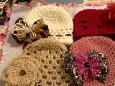 Gorros a crochet o gancho para niña 6 meses - YouTube 01bf73233ff