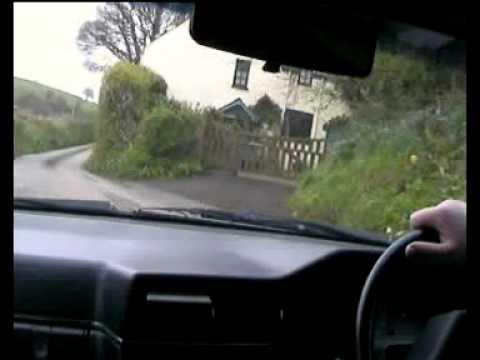 Driving down the narrow English Country lanes near Dartmouth South Devon.