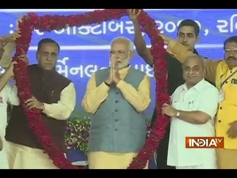 Prime Minister Narendra Modi arrives in Ghogha to launch the RO-RO ferry service