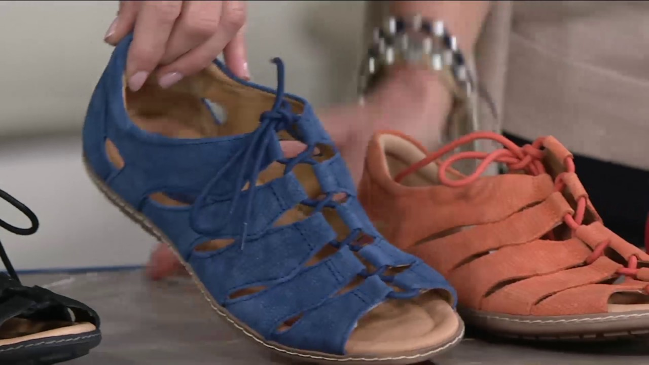 5698f8f4c4c0 Earth Suede Ghillie Lace-up Sandals w  Closed Heel - Plover on QVC ...