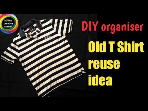 Old T Shirt reuse idea# Best out of waste# DIY Bedside pocket organiser# old clothes craft