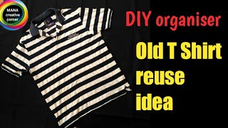 Old T Shirt reuse idea# Best out of waste# DIY Bedside pocket organiser# old clothes craft