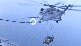 CH-53E Helicopter Perform Air Refueling While Carrying A Humvee