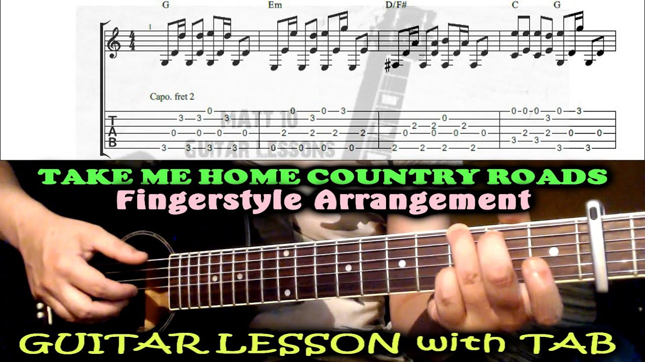 Take Me Home Country Roads (John Denver) Fingerstyle GUITAR LESSON with TAB