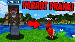TALKING PARROT PRANK IN MINECRAFT! - Minecraft Trolling Video