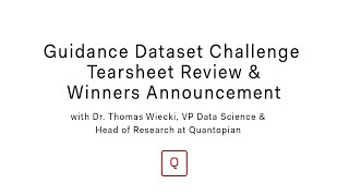 Live Webinar: Guidance Challenge Winners Announcement and Tearsheet Review with Dr. Thomas Wiecki