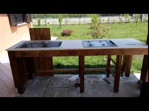 Cucina esterna in legno faidate  YouTube