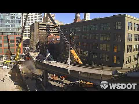 Demolishing Seattle's Alaskan Way Viaduct: Columbia Street ramp time lapse