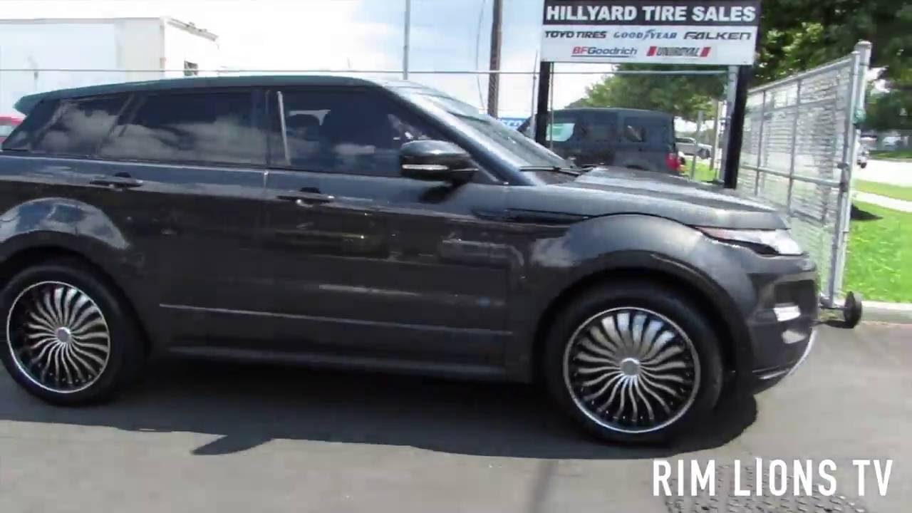 Auu >> 2013 LAND ROVER EVOQUE RIDING ON CUSTOM 20 INCH BLACK & MACHINED RIMS & TIRES - YouTube