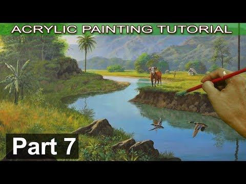 Acrylic Landscape Painting on Bigger Canvas | Adding Wildlife like Cow and Wild Ducks | Part 7