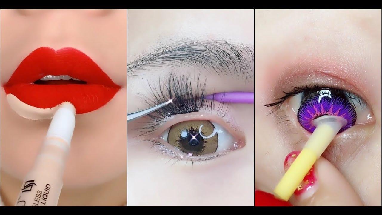 Amazing Makeup Tricks  Easy Eyeliner vs Eyebrow and Lipstick Tutorial For Beginners Part 12